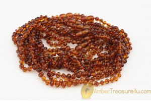 Lot of 10 Baby Teething Baroque BALTIC AMBER Necklaces  btw14