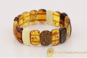 Multicolor Pieces Genuine BALTIC AMBER Stretch Bracelet