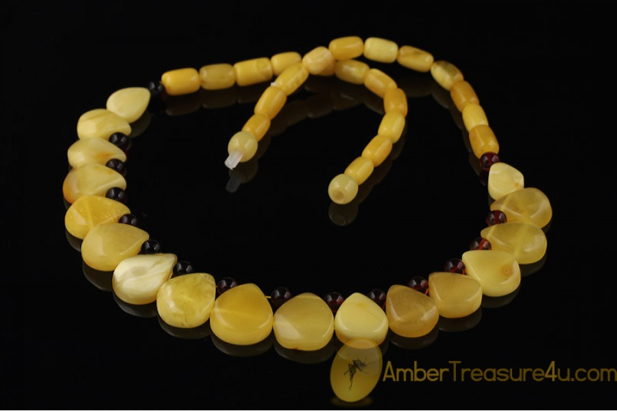 BUTTER & CHERRY COLOR Genuine BALTIC AMBER Choker