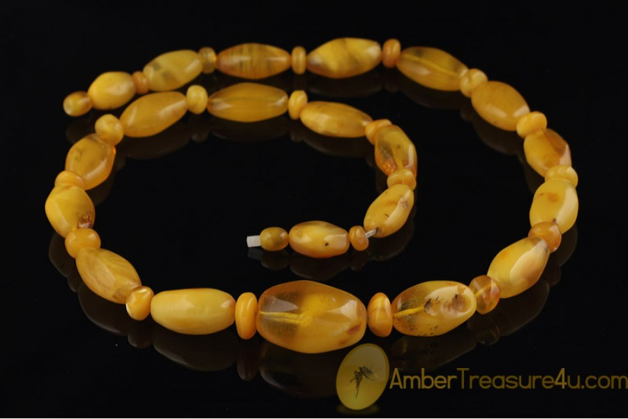 ANTIQUE Large BUTTER Beads BALTIC AMBER Necklace