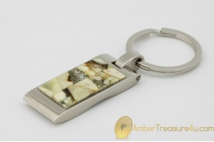 Excellent Keychain Decorated with Genuine BALTIC AMBER Mosaic