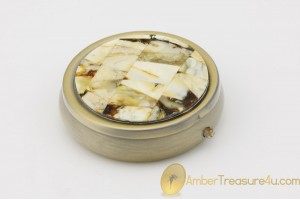 Excellent Pill Box Decorated with Genuine BALTIC AMBER Mosaic