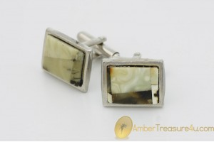 Excellent Cufflinks Decorated with BALTIC AMBER Mosaic