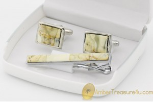 Excellent Cufflink & Tie pin Set Decorated with BALTIC AMBER Mosaic