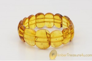 Genuine BALTIC AMBER Stretch Bracelet with Fossil Inclusions