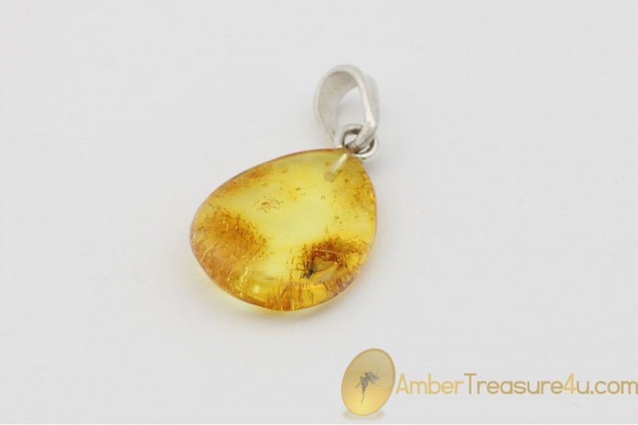 Natural Baltic Amber with Fossil Fly Inclusion Sterling Silver Pendant AG197