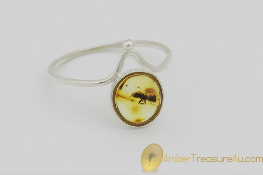 Genuine BALTIC AMBER Silver Ring 8.5 - 18.5mm w Fossil Inclusion - ANT