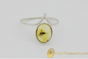 Genuine BALTIC AMBER Silver Ring 7.25 - 17.5mm w Fossil Inclusion - LONG LEGGED FLY