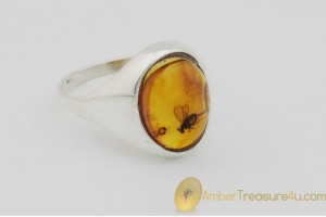 Genuine BALTIC AMBER Silver Ring 8.5 - 18.5mm w Fossil Inclusion - LONG LEGGED FLY