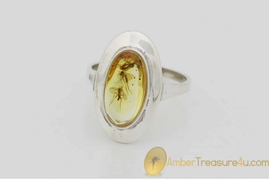 Genuine BALTIC AMBER Silver Ring 8.5 - 18.5mm w Fossil Inclusions - 3 FUNGUS GNATS