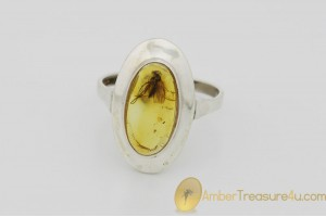 Genuine BALTIC AMBER Silver Ring 8.5 - 18.5mm w Fossil Inclusion - GNAT
