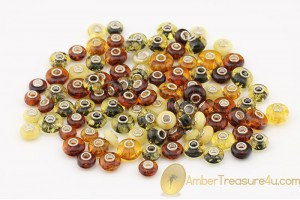 Lot of 100 Genuine BALTIC AMBER Beads fit to PANDORA & TROLL Bracelet
