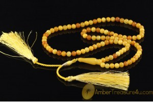 ANTIQUE STYLE Islamic 99 Prayer Beads 6mm Genuine BALTIC AMBER