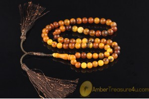 ANTIQUE STYLE Islamic 66 Prayer Beads 8mm Genuine BALTIC AMBER