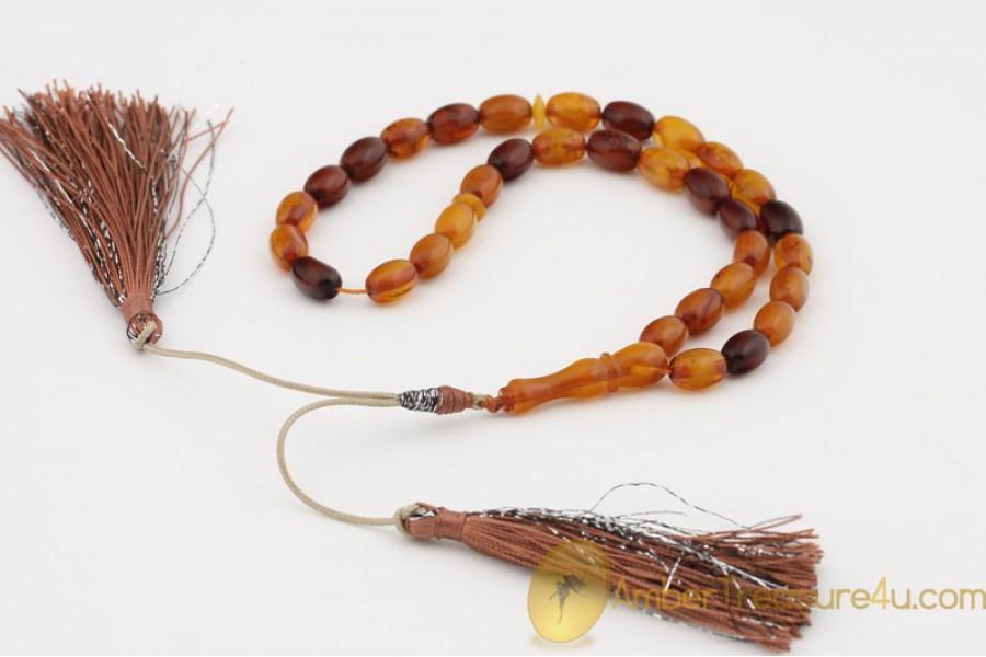ANTIQUE STYLE Islamic 33 Prayer Beads 10x7mm Genuine BALTIC AMBER
