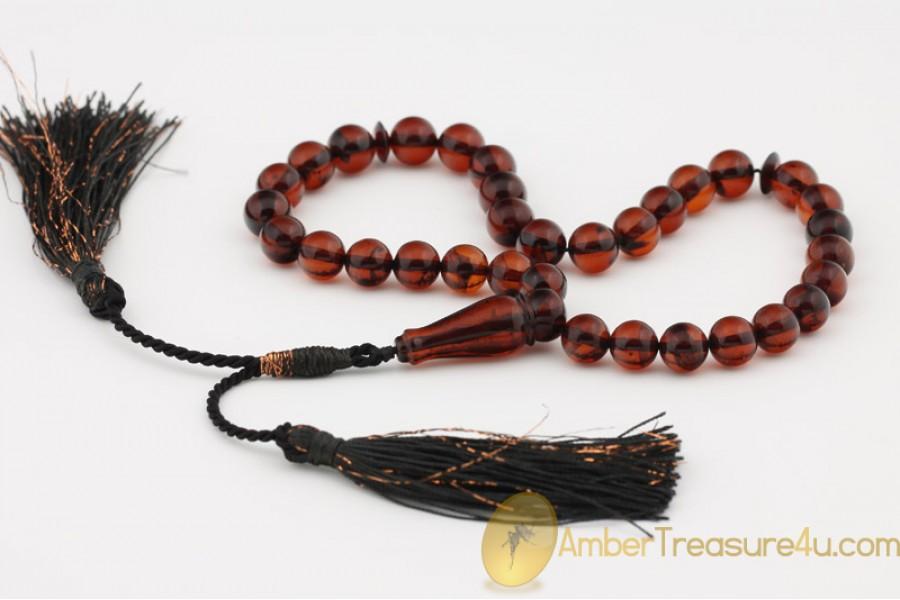Chery Color Islamic 33 Prayer Beads 9mm Genuine BALTIC AMBER