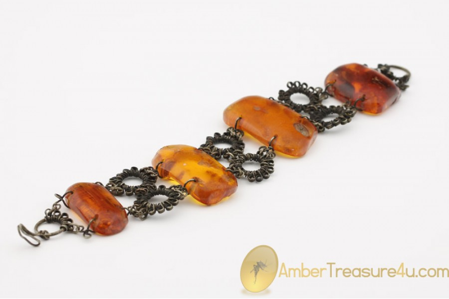 EXCLUSIVE Artisan Vintage  Large BALTIC AMBER Bracelet