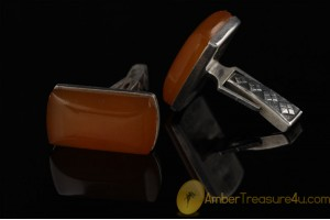 VINTAGE Butterscotch Genuine BALTIC AMBER Silver Cufflinks