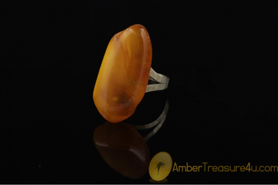 VINTAGE Butterscotch BALTIC AMBER Ring 6.5 - 17