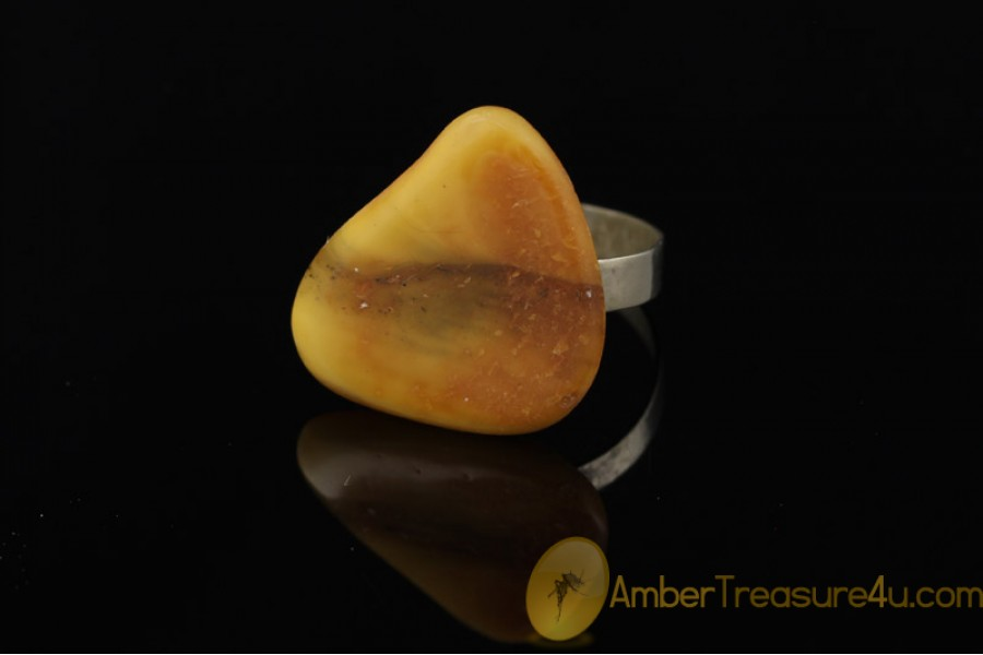 VINTAGE Butterscotch BALTIC AMBER Ring 11.5 - 21mm