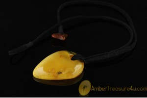 Butter Color Large Genuine BALTIC AMBER Pendant on Velvet String