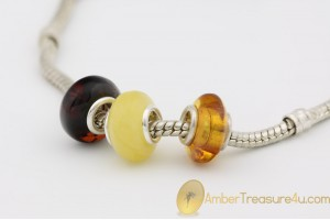 Lot of 3  Genuine BALTIC AMBER Beads fit to PANDORA & TROLL Bracelet