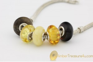 Lot of 5 Genuine BALTIC AMBER Beads fit to PANDORA & TROLL Bracelet