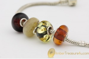 Lot of 4 Genuine BALTIC AMBER Beads fit to PANDORA & TROLL Bracelet