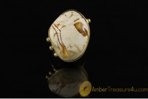Exclusive ROYAL WHITE Genuine BALTIC AMBER Brass Ring 8.5 - 18.5mm