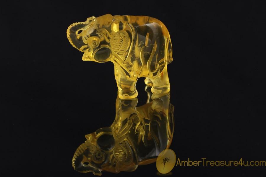 Hand Carved Genuine BALTIC AMBER ELEPHANT Statuette Figurine
