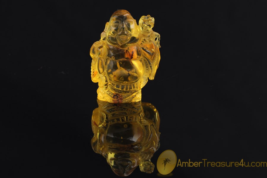 Hand Carved Genuine BALTIC AMBER BUDDHA Statuette Figurine