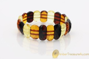 Large Faceted Multicolor Genuine BALTIC AMBER Stretch Bracelet