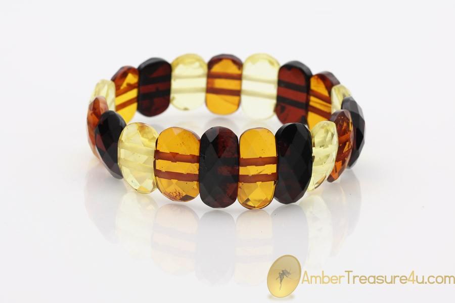 Large Faceted Multicolor Genuine BALTIC AMBER Stretch Bracelet