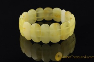 Large Lemon & Butter Color  Genuine BALTIC AMBER Stretch Bracelet