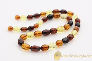 Faceted Multicolor Olive Shape Beads Genuine BALTIC AMBER Necklace