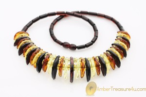 Large Multicolor Faceted Genuine BALTIC AMBER Choker