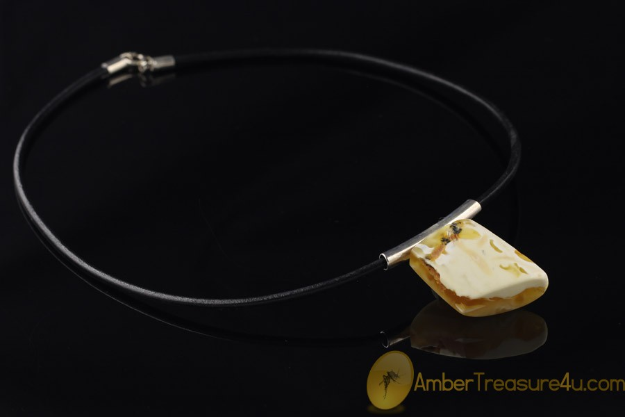 White & Butter Color Large Genuine BALTIC AMBER Pendant on Leather String