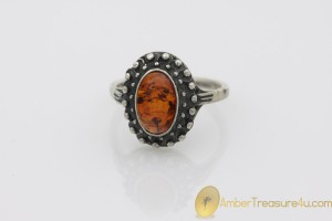 Excellent Cognac Color Genuine BALTIC AMBER Silver Ring 7.75 - 18mm