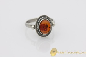 Cognac Color Genuine BALTIC AMBER Silver Ring 7.75 - 18mm