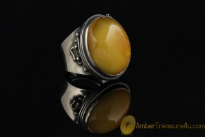 Large BUTTERSCOTCH Genuine BALTIC AMBER Silver Ring 6.5 - 17mm