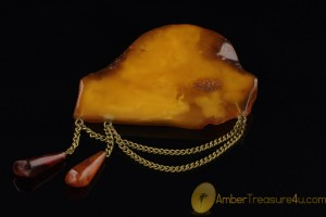 VINTAGE Large Artisan Butterscotch BALTIC AMBER Brooch