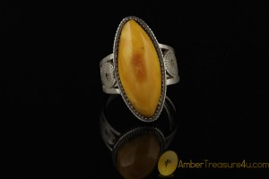 VINTAGE Butterscotch BALTIC AMBER Ring 9.5 - 19.5