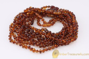 Lot of 10 Cognac Color Baby Teething BALTIC AMBER Necklaces