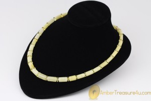 White Butter Color Cylinder Shape Beads  Genuine BALTIC AMBER Unisex Necklace