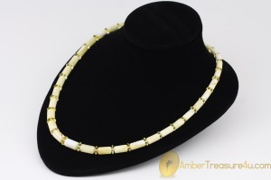 White Color Cylinder Shape Beads  Genuine BALTIC AMBER Unisex Necklace