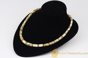 White Bluish Greenish Color Cylinder Shape Beads  Genuine BALTIC AMBER Unisex Necklace
