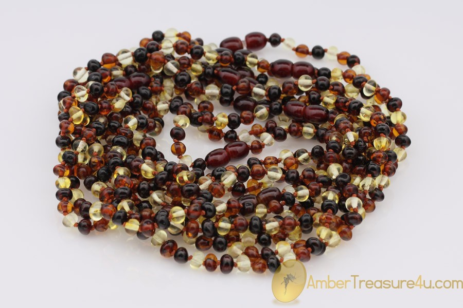 Lot of 10 Multicolor Color Baby Teething BALTIC AMBER Necklaces