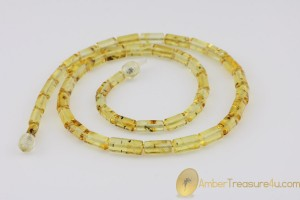 Cylinder Shape Beads FOSSIL INSECTS Genuine BALTIC AMBER Necklace