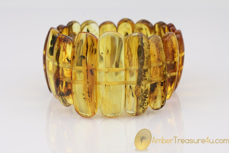 Large Genuine BALTIC AMBER Stretch Bracelet with Fossil Inclusions