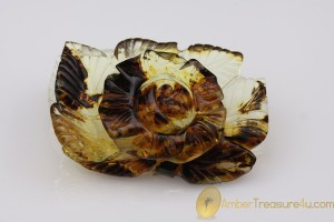 Hand Carved Rose Genuine BALTIC AMBER Figurine Statuette